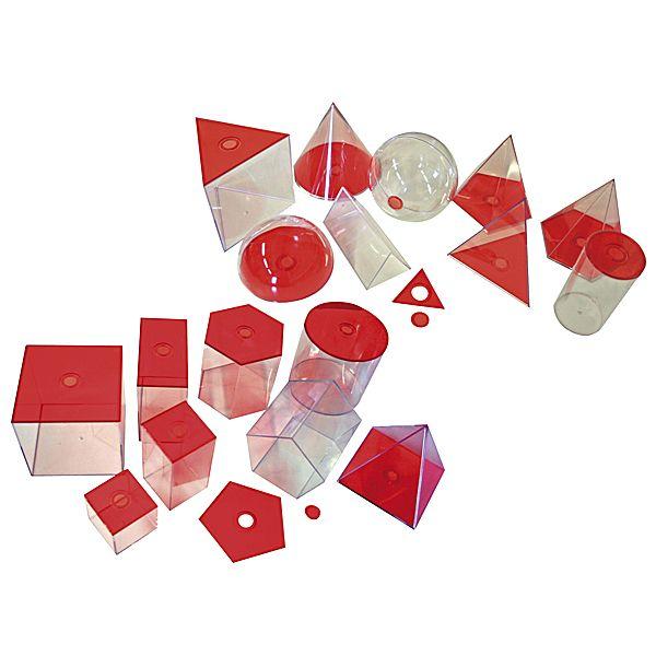 Geometrische Körper, transparent (rot) groß