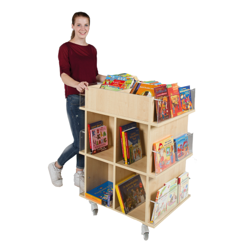 Präsentationswagen für Bücher, mit 18 Fächern