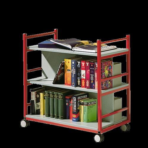 Bücherwagen mit 3 Ebenen, fahrbar