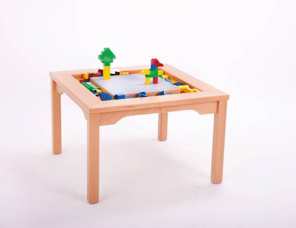 Spieltisch für Lego und Duplo optional mit 4 Hockern oder 4 Schaumstoffwürfel