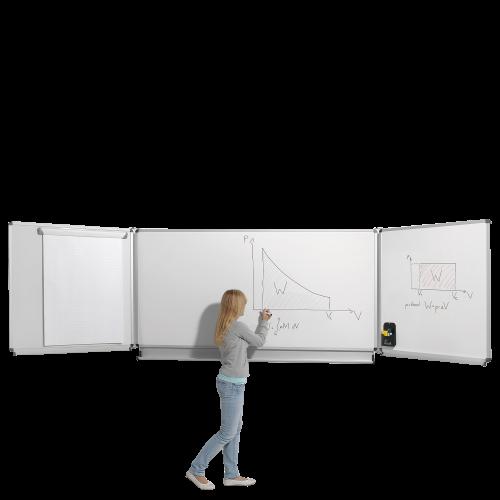 Whiteboard Wandklapptafel aus Stahl, Serie KLST, weiß