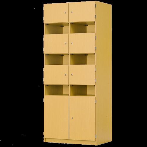 Schließfachschrank, 6 offene & 8 abschließbare Fächer, B/H/T: 82x190x52 cm