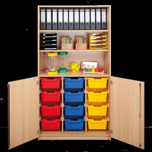 Schrank mit Halbtüren und 12 hohen ErgoTray Boxen