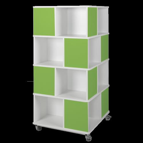 Bücherturm mit 4 Ebenen und 16 Fächern, fahrbar