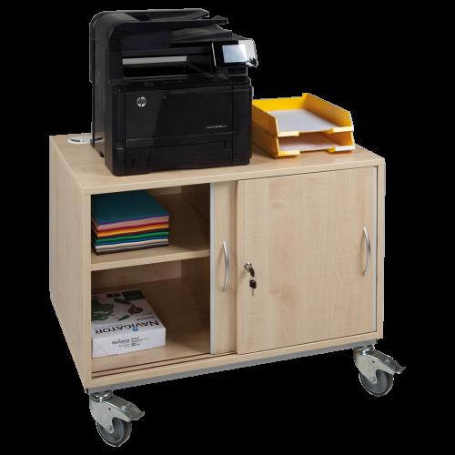 Fahrbarer Druckertisch mit Schiebetüren