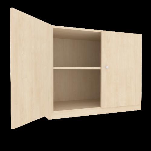 Zweitüriger Schrank mit Blende für eine Leiterzarge für die Höhe von 2 Ordnern, Serie 610