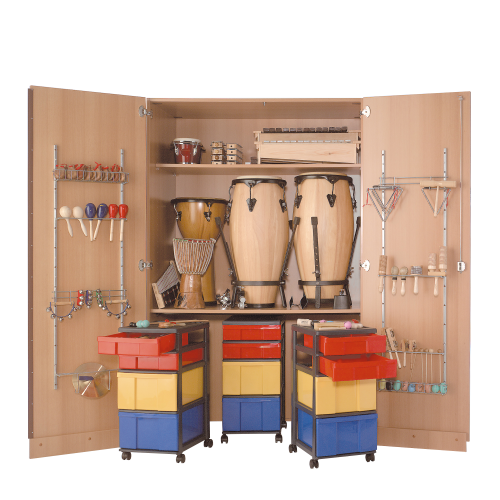 Zweitüriger Musikschrank mit 3 fahrbare InBox Containern, 1 Einlegeboden