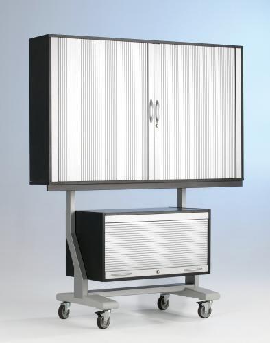 TV-Wagen für Flat-Screens, US, 1 FB, 190x154x65cm, 9006/Schwarz,ScreenCart, Gestell und Rollo Weißal