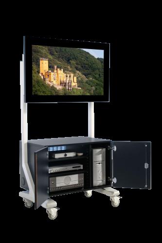 TV Wagen, TV Rack für Fernseher bis 70 Zoll mit großem Unterschrank, Glastüren