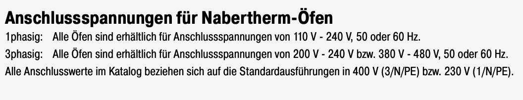 Nabertherm-Anschlussspannungen