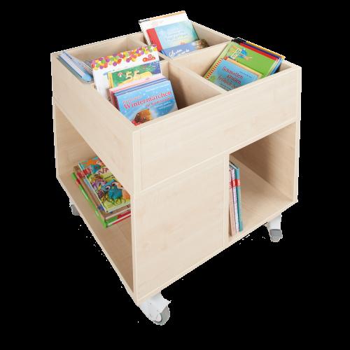 Bücherkiste CuBe, 4 Fächern auf der Oberseite, 4 Fächer seitlich, fahrbar