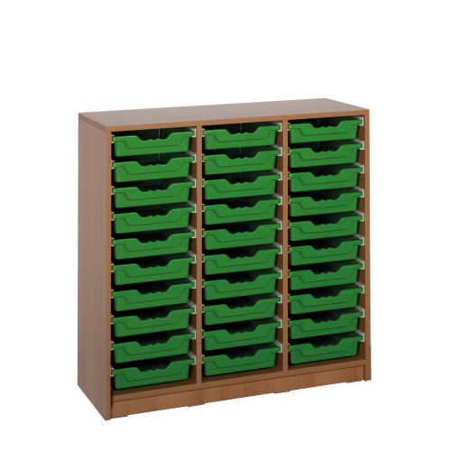 Offenes Sideboard mit 30 flachen ErgoTray Boxen, 2 Mittelwände