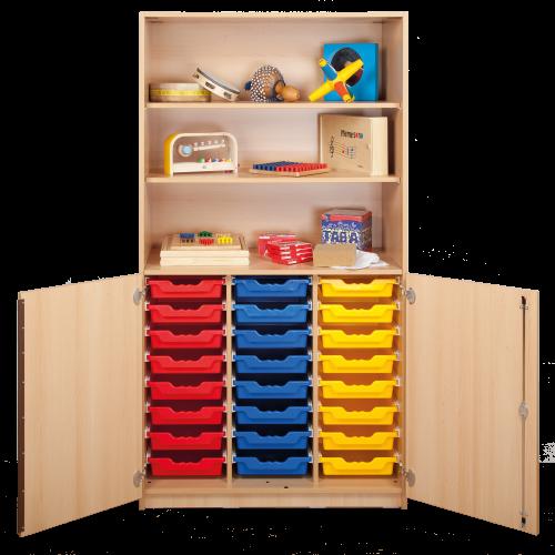 Schrank mit Halbtüren und 24 flachen ErgoTray Boxen