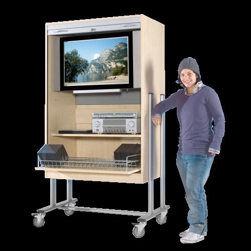 TV-Wagen mit Rollo, 1 Rollauszug & Videoauszug