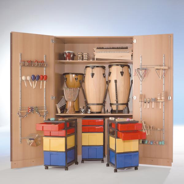 Zweitüriger Musikschrank mit 3 fahrbare InBox Containern, 1 Einlegeboden, B/H/T: 120x190x60 cm