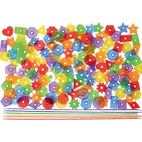 Fädelknöpfe transparent 144 Stück mit 6 Schnüren