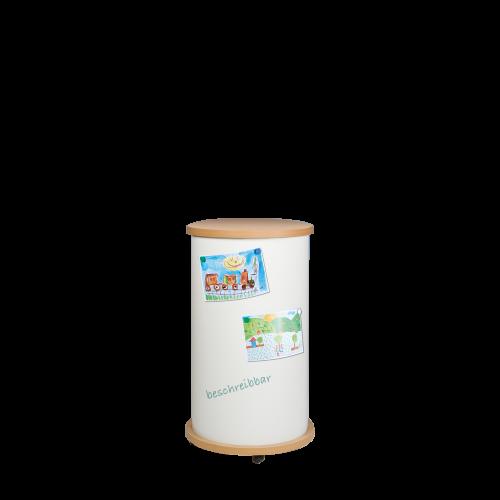 Mobile Litfaßäule mit Whiteboardoberfläche, Schultafelstahl, weiß