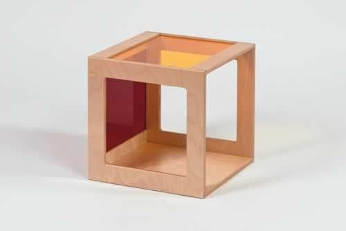 Würfel mit Acrylglas rot-gelb
