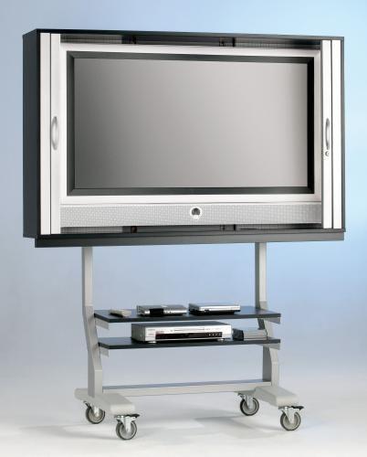 TV Wagen, TV Rack für Fernseher bis 55 Zoll 130 x 92 cm, mit 2 festen Böden,ScreenCart, Gestell grau