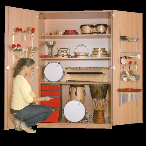 Zweitüriger Musikschrank mit InBoxen, 3 Einlegeböden, fahrbar