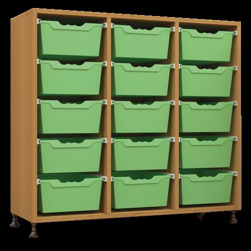 Offenes Sideboard mit 15 hohen ErgoTray Boxen, 2 Mittelwänden, fahrbar