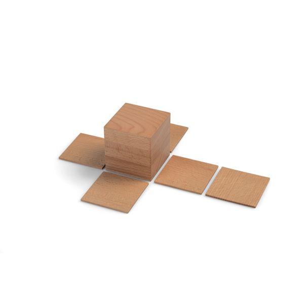 Geometrische Körper aus Holz mit Abwicklung