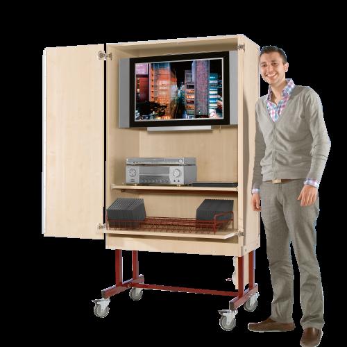 Zweitüriger TV-Wagen mit 1 Rollauszug & Fach