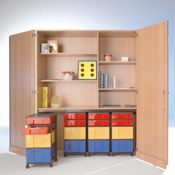 Garagenschrank mit 4 Roll-Container(16 InBox-Boxen), 4 EinlegebödenB/H/T: 150x190x50 cm ,mit Sicher