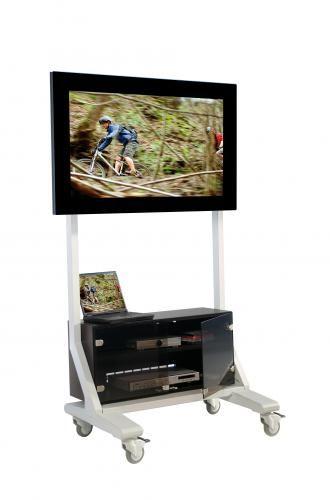 TV Wagen, TV Rack für Fernseher bis 70 Zoll mit Unterschrank,ScreenCart L, feste Halterung