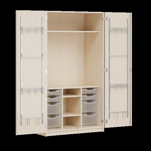 Zweitüriger Musikschrank MOFF 5, mit 8 ErgoTray-Boxen, 1 Einlegeboden