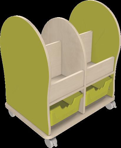 Leseratte Midi mit 4 offenen Fächern und 2 Ergo Tray Boxen C2