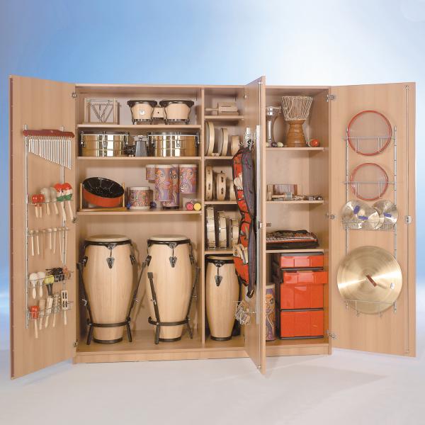 Dreitüriger Musikschrank mit 6 hohen InBoxen, Mittelwand & 9 Einlegeböden, B/H/T: 194,4x190x60 cm
