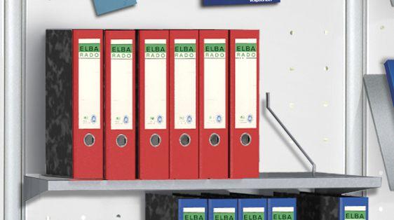 Ablageboden mit seitlichen Ordnerstützen B: 75 cm x T: 30 cm / Zubehör für Lochblech-Element KE-6966