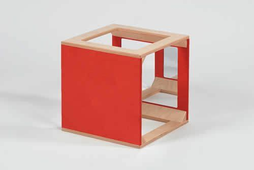Würfel mit Spiegel rot