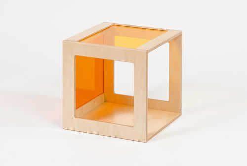 Würfel mit Acrylglas orange-gelb