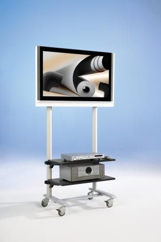 TV Wagen, TV Rack für Fernseher bis 50 Zoll mit 2 Ablagen,ScreenCart Serie Design 70, feste Halterun