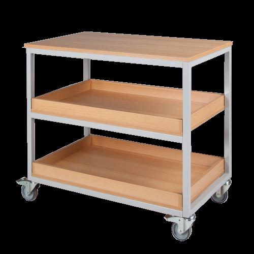 Vorbereitungswagen mit 3 Ablageböden (2 mit Aufkantung), fahrbar