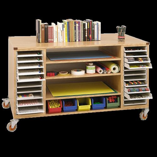 Bastelwagen mit 48 DIN-A4 Schubladen, 6 Einlegeböden, 10 kleinen Materialboxen
