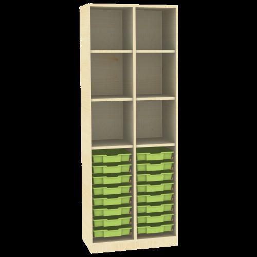 Raumteiler mit Ergotray Boxen Größe M und Stauraum für die Höhe von drei Ordnern