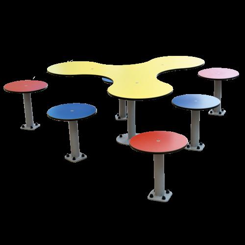 Tischgruppe Kleeblatt (7tlg.) für den Außenbereich