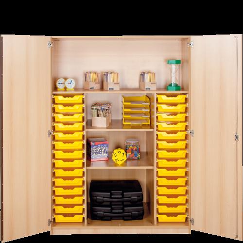 Zweitüriger Schrank mit 28 flachen ErgoTray Boxen