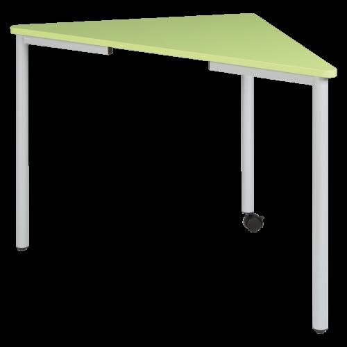 Pythagoras Dreiecktisch, fahrbar mit Schiene für flache ErgoTray Box