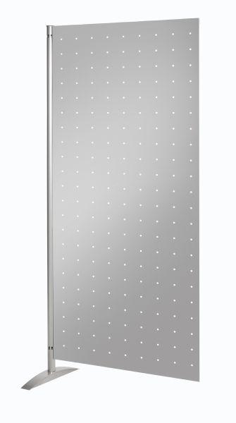Präsentationswand Metropol, Lochblech-Element Alusilber B: 80 x H 175 cm, magnethaftend