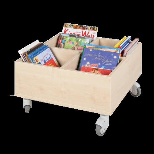 Bücherkiste CuBe, 4 Fächern auf der Oberseite, fahrbar