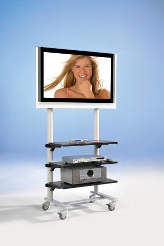 TV Wagen, TV Rack für Fernseher bis 50 Zoll mit 3 Ablagen,ScreenCart Serie Design 70, feste Halterun