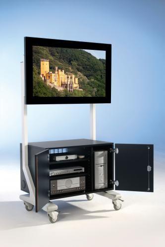 TV Wagen, TV Rack für Fernseher bis 70 Zoll mit großem Unterschrank, Holztüren,ScreenCart XL, feste