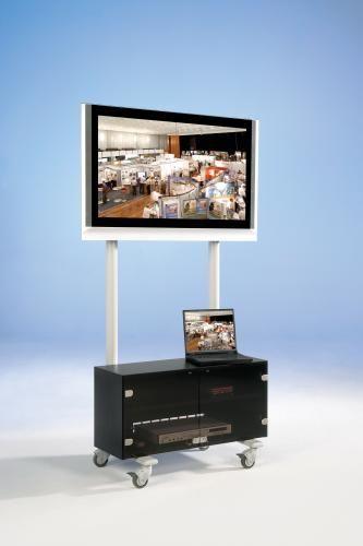 TV Wagen, TV Rack für Fernseher bis 50 Zoll mit Unterschrank,ScreenCart Serie Design 70, feste Halte