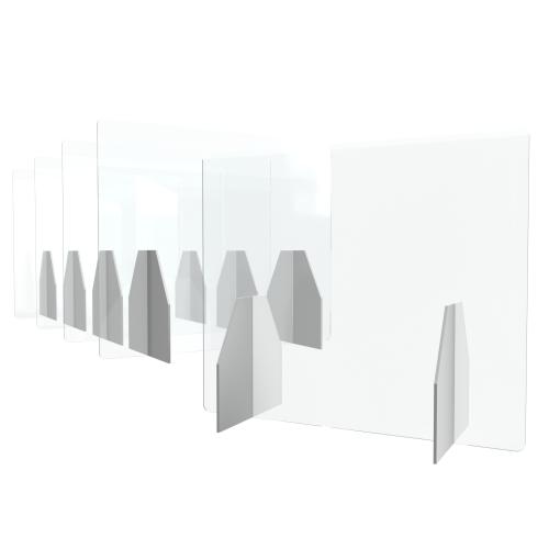 Polystyrol Schutzwand als Tischaufsteller zum Coronaschutz, 5 Stück im Set