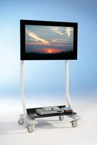 TV Wagen, TV Rack für Fernseher bis 70 Zoll mit schwarzer Ablage,ScreenCart M, feste Halterung