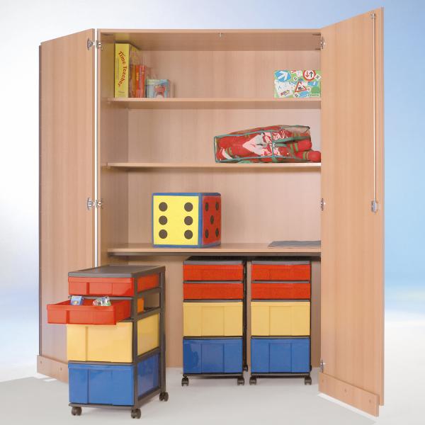 Garagenschrank mit 4 Roll-Container(16 InBox-Boxen), 4 EinlegebödenB/H/T: 120x190x50 cm